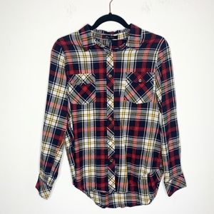 🔸 NWOT Honey Punch Flannel Plaid Button Up Shirt